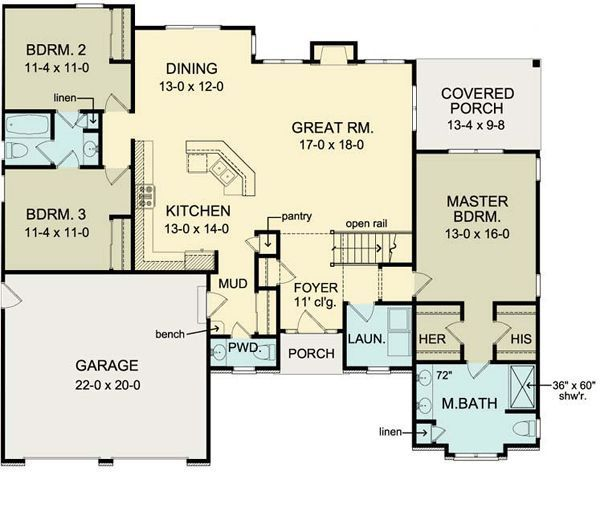 First floor plan of ranch house plan 54066 move garage for House plans garage in back