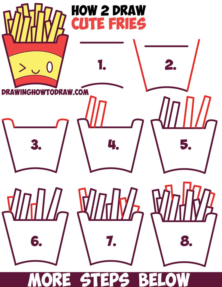 How to Draw Cute Kawaii French Fries with Face on It - Easy Step by Step Drawing Tutorial for Kids