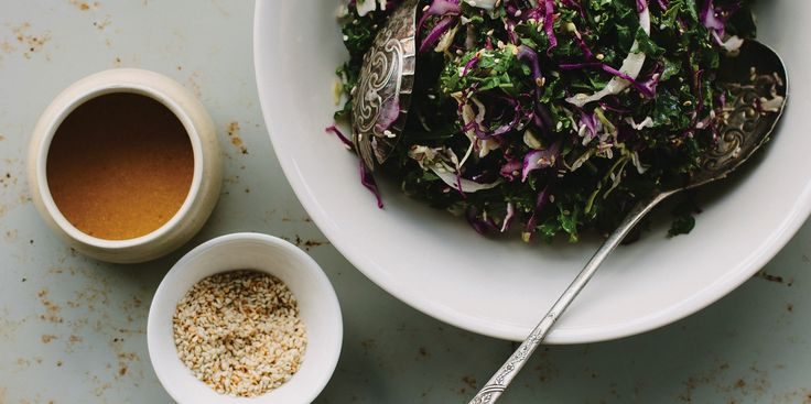 Kale Slaw w/ 'Honey' Mustard Miso Dressing (using Red & White Cabbage)