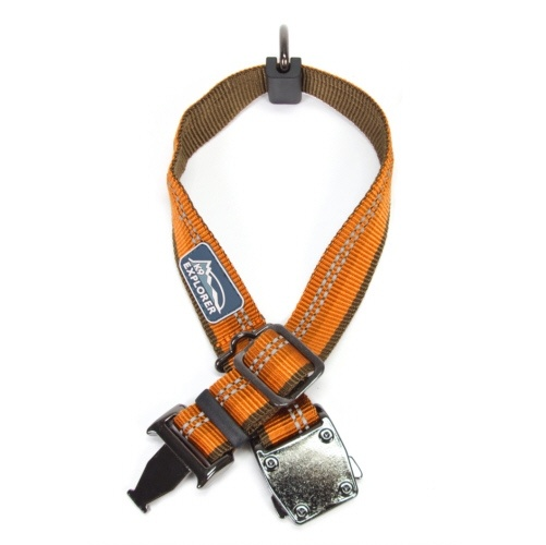 Coastal K9 Explorer Campfire Orange Reflective Adjustable Collar is an upscale adjustable collar that will reflect your active lifestyle.    Featuring polished gunmetal-finish hardware, reflective stitching for nighttime safety, a convenient side-release buckle, moveable D-ring, PVC logo patch, separate ID loop, and easy leash attachment.    Size: 12 - 18 inches.    Width: 1 inch.