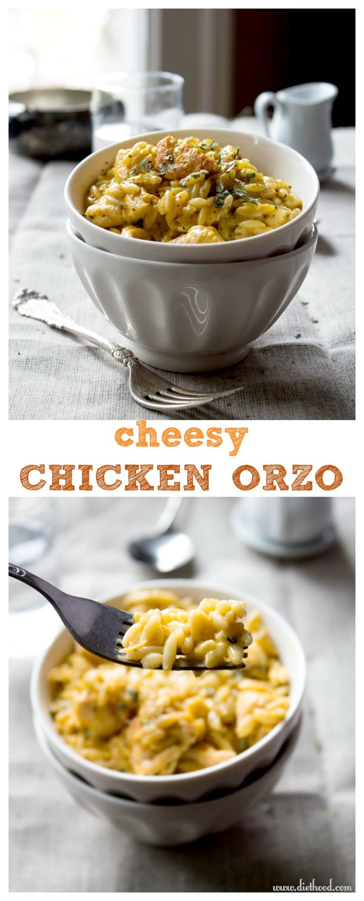 Cheesy Chicken Orzo - SO delicious and so cheesy! All made from scratch with chicken, cheddar cheese, and orzo.