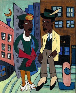 America after the Fall - Dance marathons, dustbowl farms, brawling sailors, impoverished cotton-pickers … Adrian Searle takes a journey through 1930s America in a gripping show | William H Johnson's Street Life, Harlem, 1939.