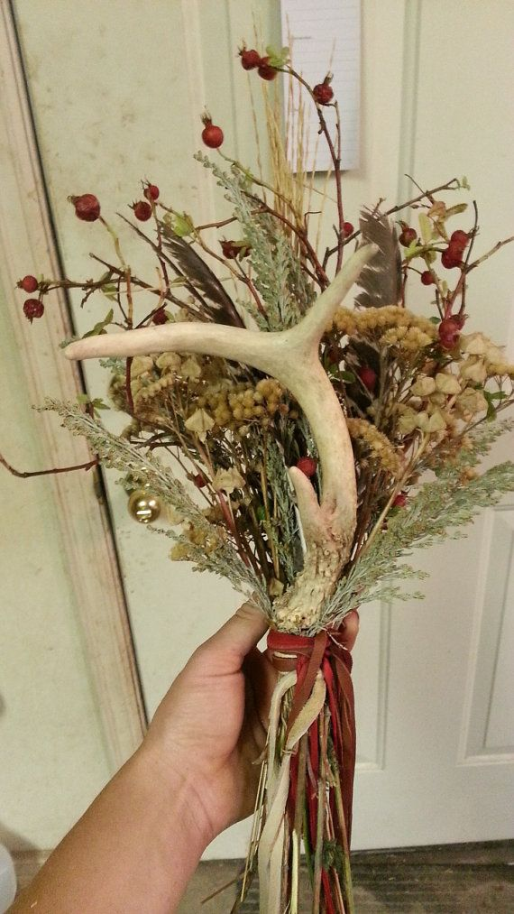 Small Deer Antler Bouquet Ready 1 Assorted Antler by Furries, $15.00  Don't forget personalized napkins for all of your wedding events! #country #wedding www.napkinspersonalized.com