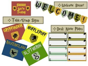 Harry Potter decorations- name plates, word wall/alphabet, jobs, calendar, behavior clip chart, and more! Awesome:)