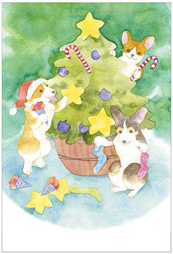 官製ハガキサイズ/印刷1セット(5枚入)クリスマスツリーの飾り付けに大忙しのコーギー犬たち。クリスマスカードにいかがでしょうか。用紙は画用紙のよう風合いのアラ...|ハンドメイド、手作り、手仕事品の通販・販売・購入ならCreema。