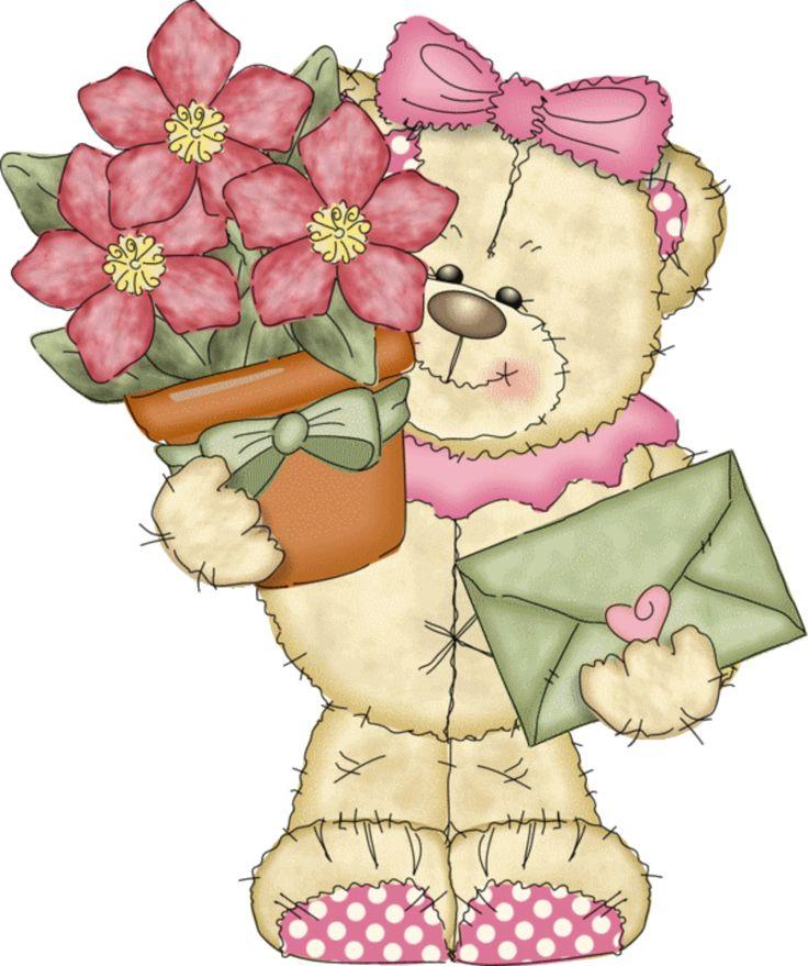 уже картинки мишек с цветочками поздравления