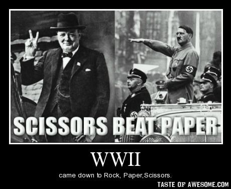 WWII.  Solid as a rock.  Scissors beat paper.  Love it.: Beats, History, Scissors Beat, Beat Paper, Funny Stuff, Funnies, Humor