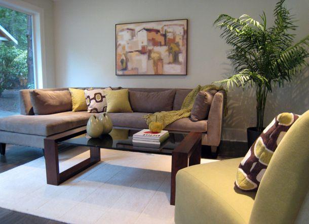 Sage Green Brown Throw Pillows On Khaki Couch