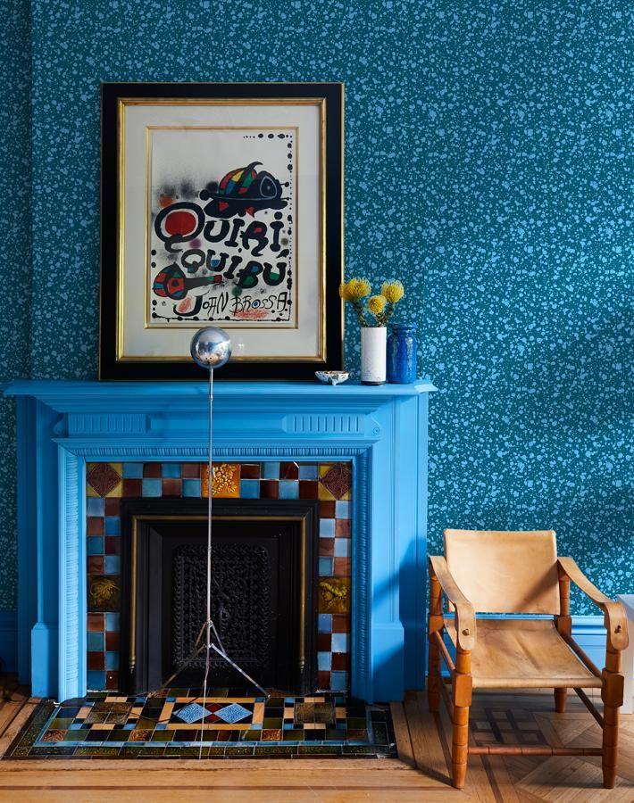 Corner Deli Yellow Blue In 2020 Fireplace Design Decor Removable Wallpaper