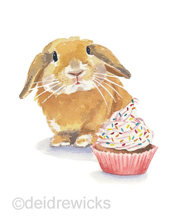Rabbit Watercolor PRINT - 5x7 Bunny Illustration, Cupcake Watercolour, Bunny RAbbit, Lop Eared, Nursery Art