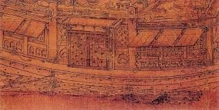 "Guo Zhongshu (郭忠恕) , Traveling on the River in Snow (雪霽江行), latter half of 10th century , 五代-郭忠恕-雪霁江行图. 郭忠恕(?-977)五代末期至宋代初期的画家,〔北宋〕字恕先,又字国宝,洛阳(今属河南)人。  7岁能诵书属文,举童子及第。后周广顺中(952)召为宗正丞兼国子监书学博士。由于争忿朝政,不久被贬为崖州司户,秩满去官,不复仕,纵放岐雍、陕洛间。入宋,官国子监主簿,益纵酒肆言,因讥讽时政,又遭流配登州,死于临邑途中。工画山水尤擅界画,楼观舟楫皆极精妙。所画重楼复阁建筑颇合规矩,""上折下算,一斜百随,咸取砖木诸匠本法,略不相背"",比例十分准确精细。作石似李思训,作树似王维,每当自画屋木,王士元便给其补人物,合作颇为默契。兼精文字学、文学,善写篆、隶书。尤其""界画""为世人推重。""界画""是随着山水画发展而派生的一科,主要是画与山水画中有关的亭台楼阁、舟船车舆。《圣朝名画评》中评他的界画,为""一时之绝"",列为""神品""。"