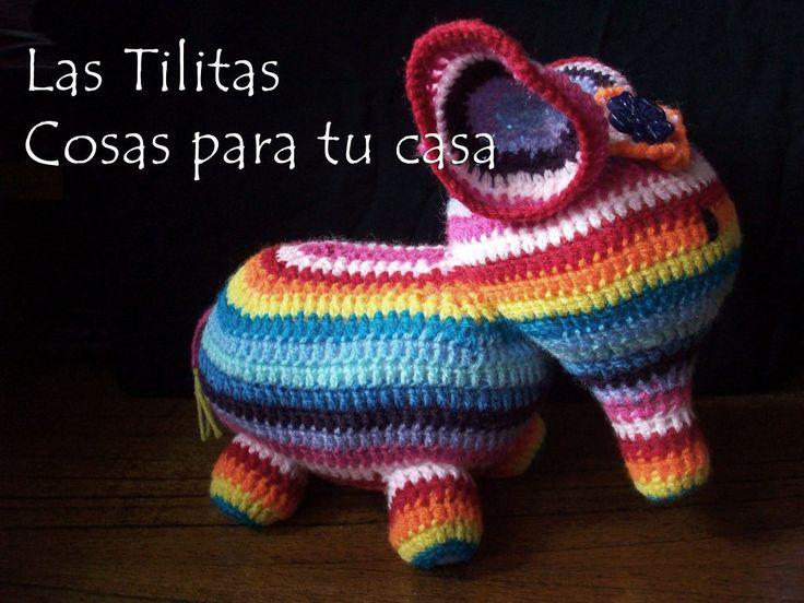 elefante multicolor tejido crochet - amigurumi