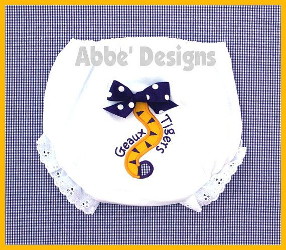 Tiger Tail Applique Diaper Cover   Geaux Tigers  LSU