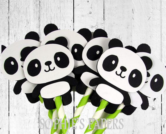 Panda Toppers, Panda Cupcake Picks, Panda Party Decorations, Panda Baby Shower, Panda Birthday Party, Panda Wedding Theme