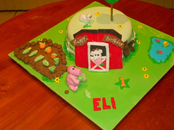 I made this barnyard birthday cake this week for my little grandson for his first birthday
