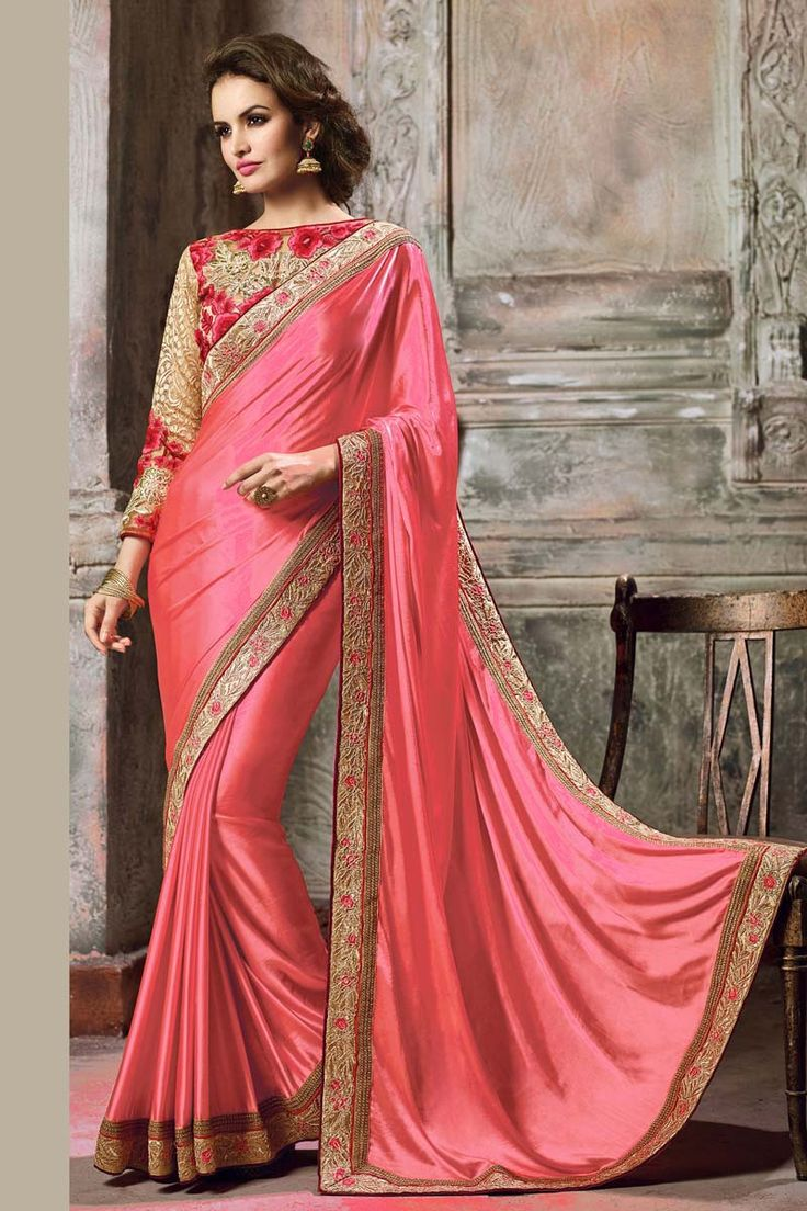 Pink Crepe Wedding Saree