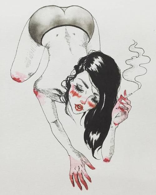 "Harumi Hironaka on Instagram: ""A naughty little #sketch / #illustration…"