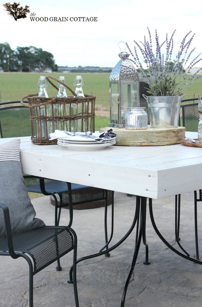Behr's ultra-white semi- transparent deck stain.................Picket Fence Outdoor Table Top by The Wood Grain Cottage