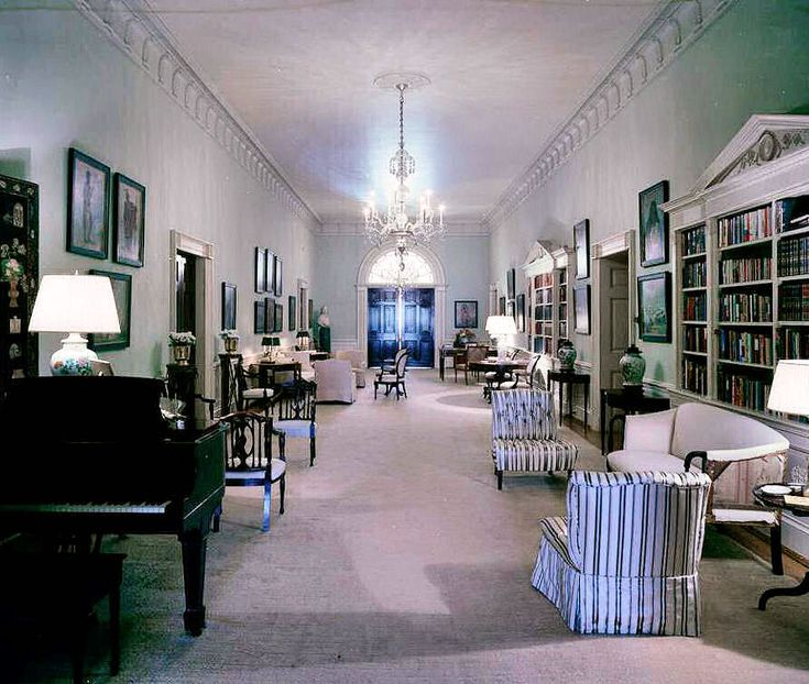 View of the second-floor Center Hall (Central Hall) in the Kennedy White House, Washington, D.C., facing west towards the West Sitting Hall, May 7, 1962.