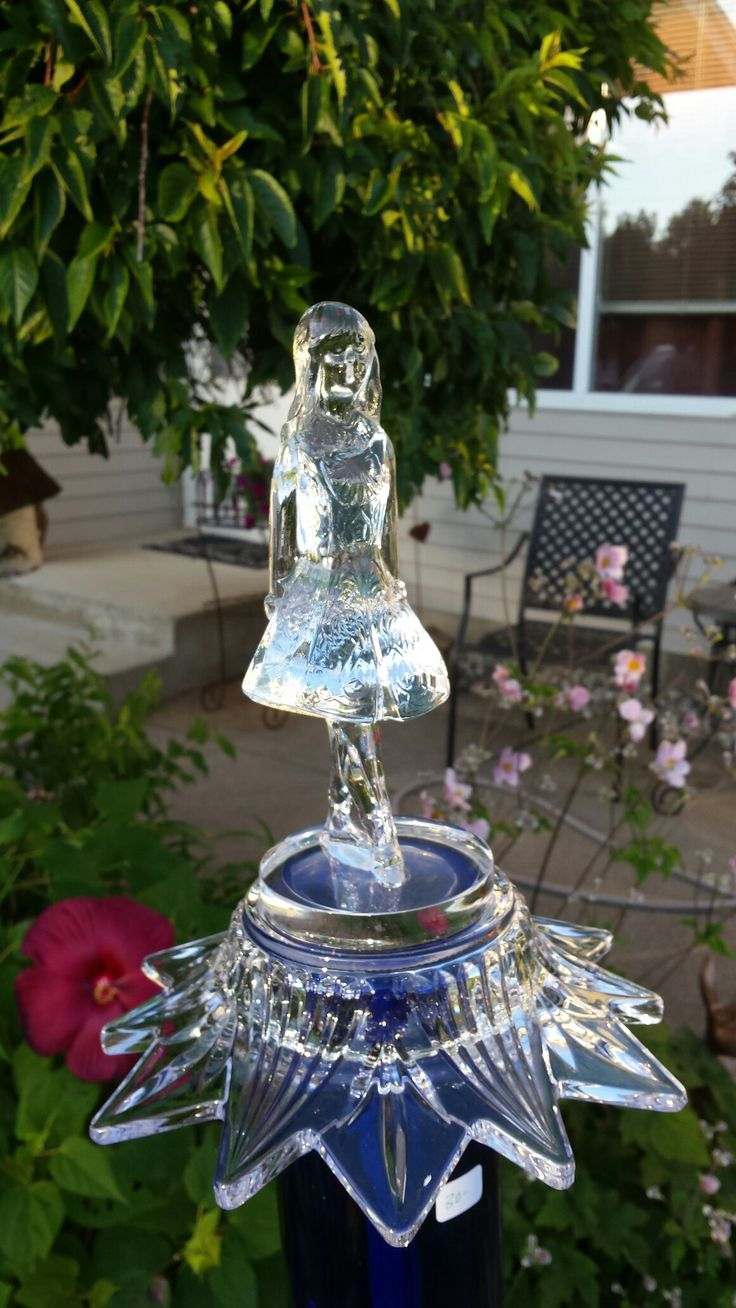 Crystal girl recycled glass garden art by kimber 39 s garden for Recycled glass art