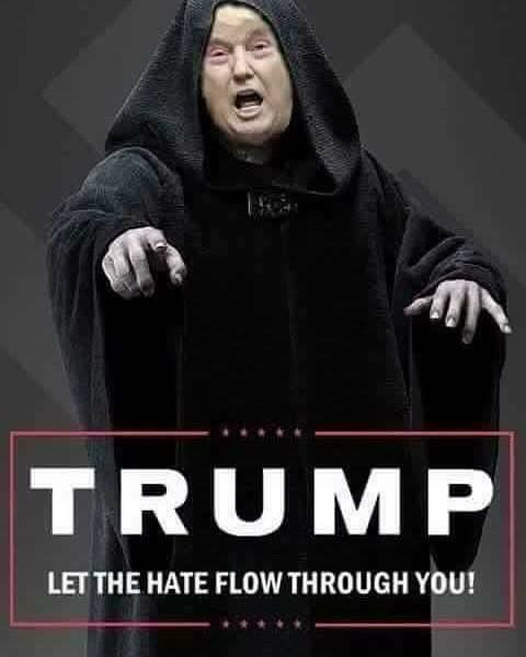 """""""Darth Drumpf"""", the Empire's new Chancellor of Trumpistan and Grand Wizard of the GOP - (which now officially stands for Grab Our Pussies) #NotMyPresident #TheResistance www.RefuseFascism.org"""