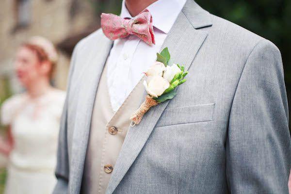boutonniere champêtre, marié, noeud papillon rose, mariage, wedding