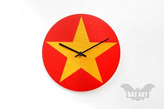 BAT Wall Clock 20cm yellow star  red  Black metal hands  by BatLab