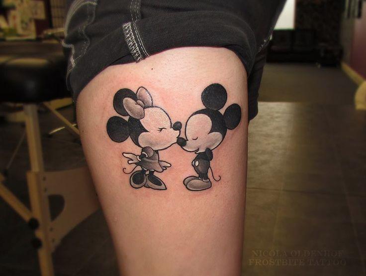 http://tattooideas247.com/mickey-and-minnie-2/ Mickey and Minnie Tattoo #Kissing, #LegTattoo, #MickeyMouse, #MinnieMouse, #Thigh