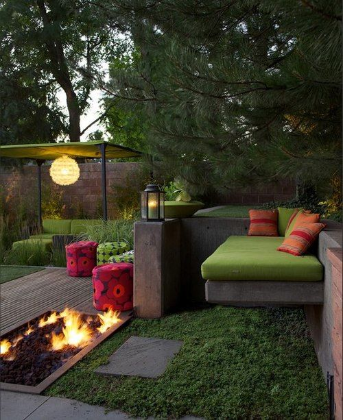 Sunken firepit, square terracing with lounging platform, leading to sunken garden.... ᘡղbᘠ