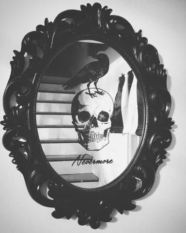 "Baroque style skull and raven ""Nevermore"" mirror – Posh Goth"
