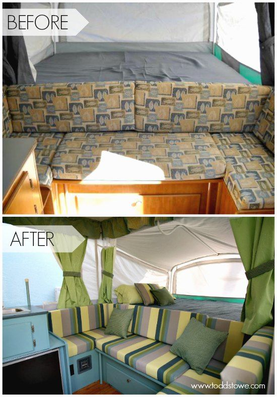 Pop Up Camper Remodel: Todd's Pop Up Makeover.  Such a great tent trailer makeover.  I love the color scheme.: