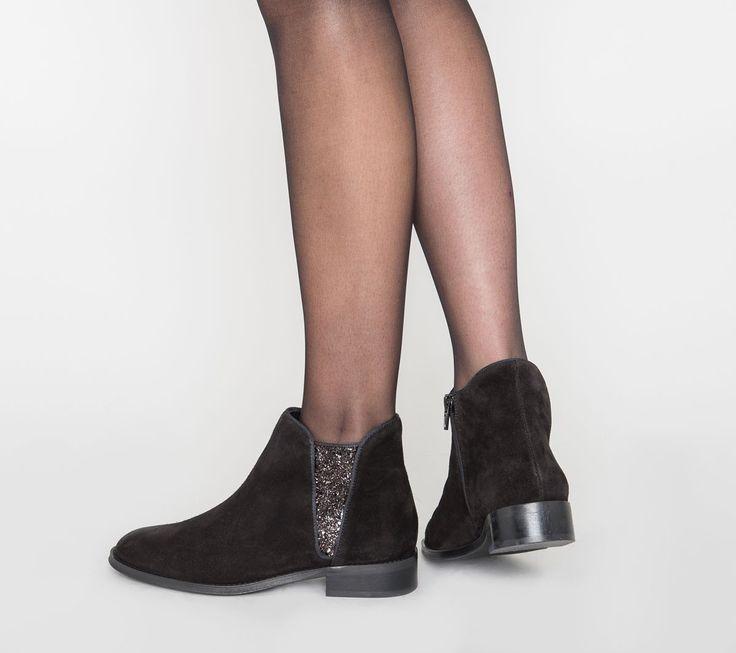 Boots paillettes croûte de cuir noir