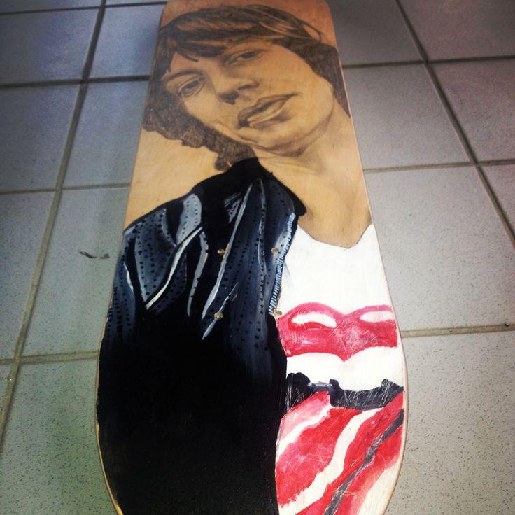 Mick Jagger/ led pencil, acrylic paint on wood - skate deck. #ElementEdenArtSearch #jamaicarose