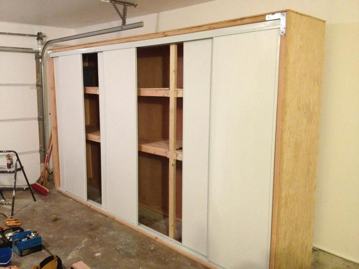 DIY Garage Storage - Heavy Duty Storage. Building garage storage is actually much easier than you would think. Sliding doors are great especially if you have a tight space to put the storage in. I will provide a synopsis to hopefully help anyone looking to save money and build storage.