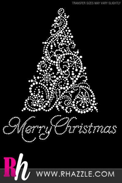White Christmas Tree Rhinestone Shirt - Rhazzle Designs - Rhinestone T-Shirts…