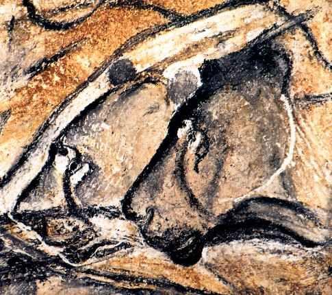 têtes de lion à la Grotte Chauvet. Période aurignacienne