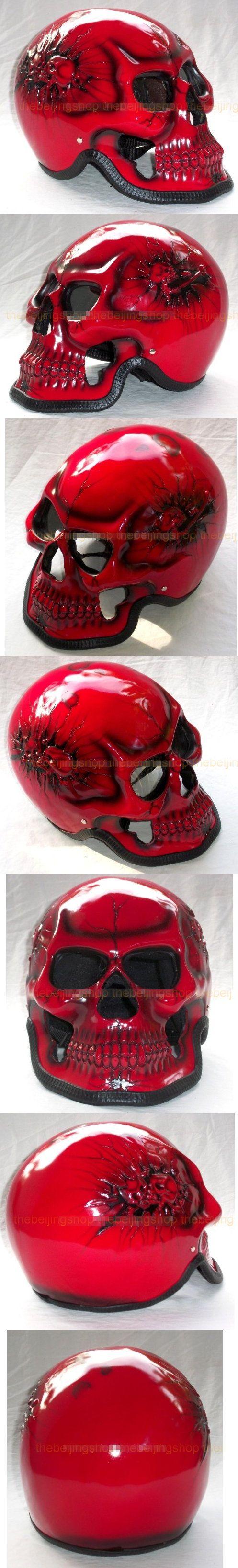Red Ghost Skull Skeleton Full Face Motorcycle Helmet