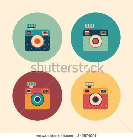 Colorful set of hipster vintage cameras. #retro #retroicons #flaticons #vectoricons #flatdesign