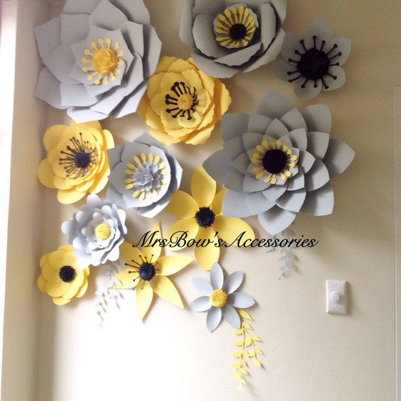 Paper flower wall in GREY&LEMON/Backdrop/Wedding backdrop/Christening/Baby…