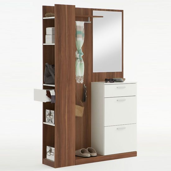 Rosano Plumtree/White Hallway Stand Shoe Storage Cabinet - Shoe Storage, Shoe Cabinets, Hallway Furniture