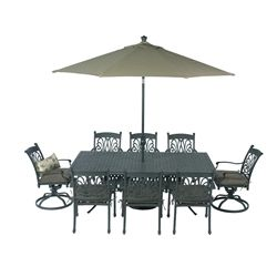 Summerset Ariana Weave Dining   Set Includes: Six Ariana Dining Chairs, Two  Ariana Swivel Rockers, One Cast Aluminum Rectangle Weave Dining Table, ...
