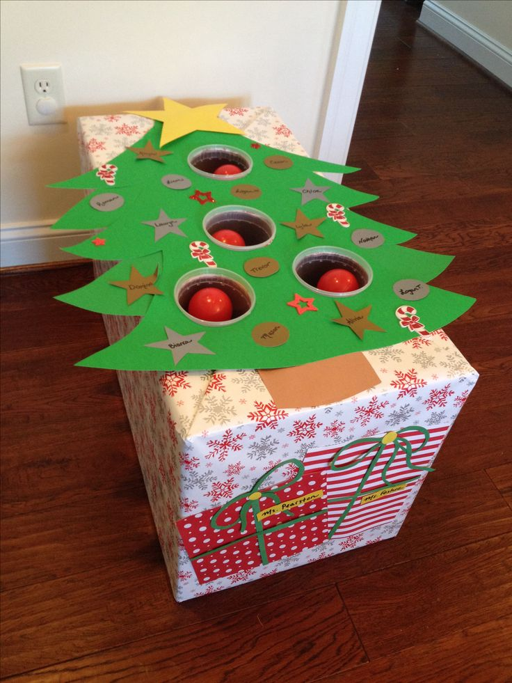 Christmas tree ball toss for a preschool holiday game