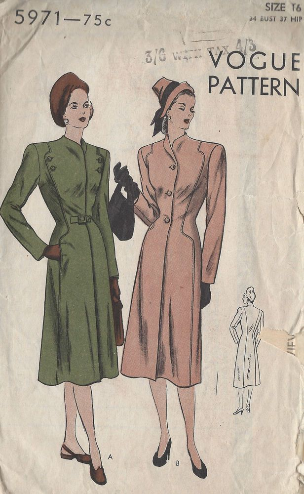 "1940s WW2 Vintage VOGUE Sewing Pattern B34"" COAT (1291)  #Vogue"