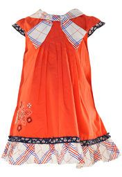 Orange coloured dress for girls by Nauti Nati. Crafted from 100% cotton this knee length, mega sleeves dress has round neck .