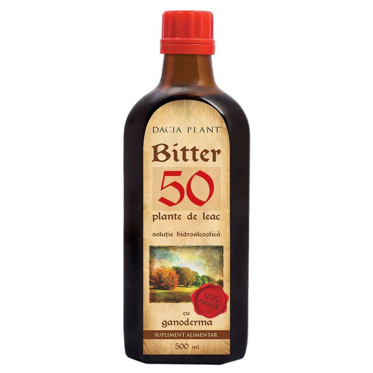 Bitter 50 Plante de Leac cu Ganoderma 500 ml Dacia Plant.  Produsul este un tonic amar din 50 de plante de leac cu ganoderma recomandat in: astenie, indigestii, digestie dificila, gastro-duodenite atone si/sau hipoacide, obezitate, hepatita, icter, dischinezie biliara, litiaza biliara, dispepsie, constipatie, valori crescute ale colesterolului, infectii intestinale si parazitoze digestive, dureri de cap, stari gripale, intoxicatii cronice, acnee si boli de piele.