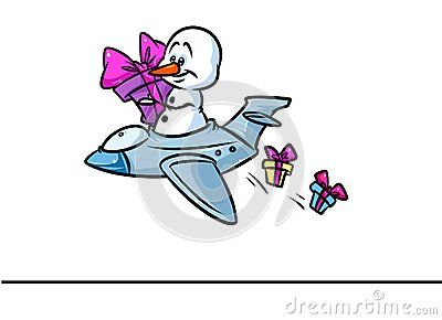 Christmas snowman character plane flying gift cartoon illustration isolated image