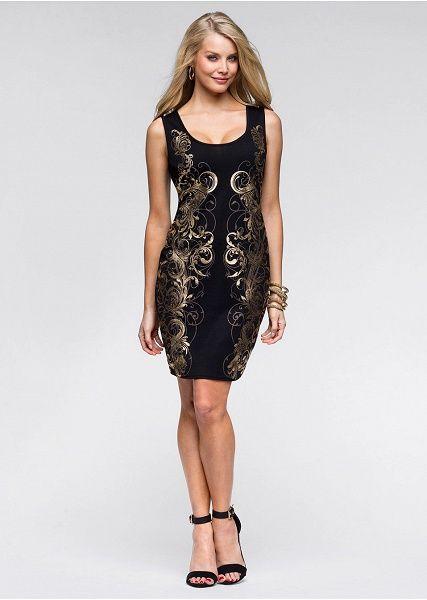 Úpletové šaty S lesklou potlačou na • 11.99 € • bonprix