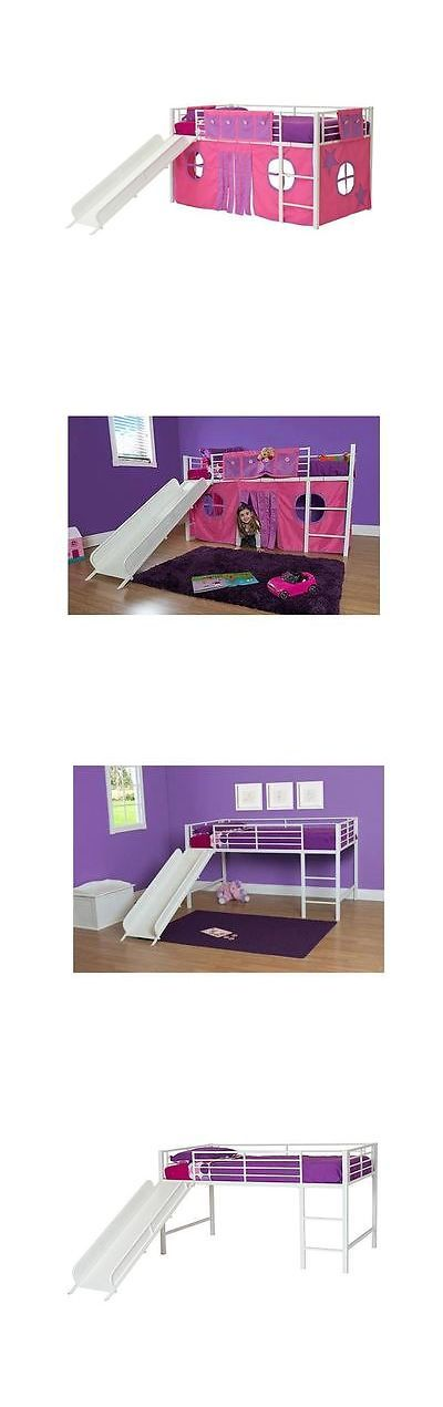 Girls Twin Loft Bed With Slide Curtain Set Bonu... - Exclusively on #priceabate #priceabateKidsFurniture! BUY IT NOW ONLY $159.98