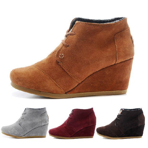 Mulheres de camurça do cunhas sapatos de salto alto bombas de outono inverno quente fosco azul, Preto, Cinza,