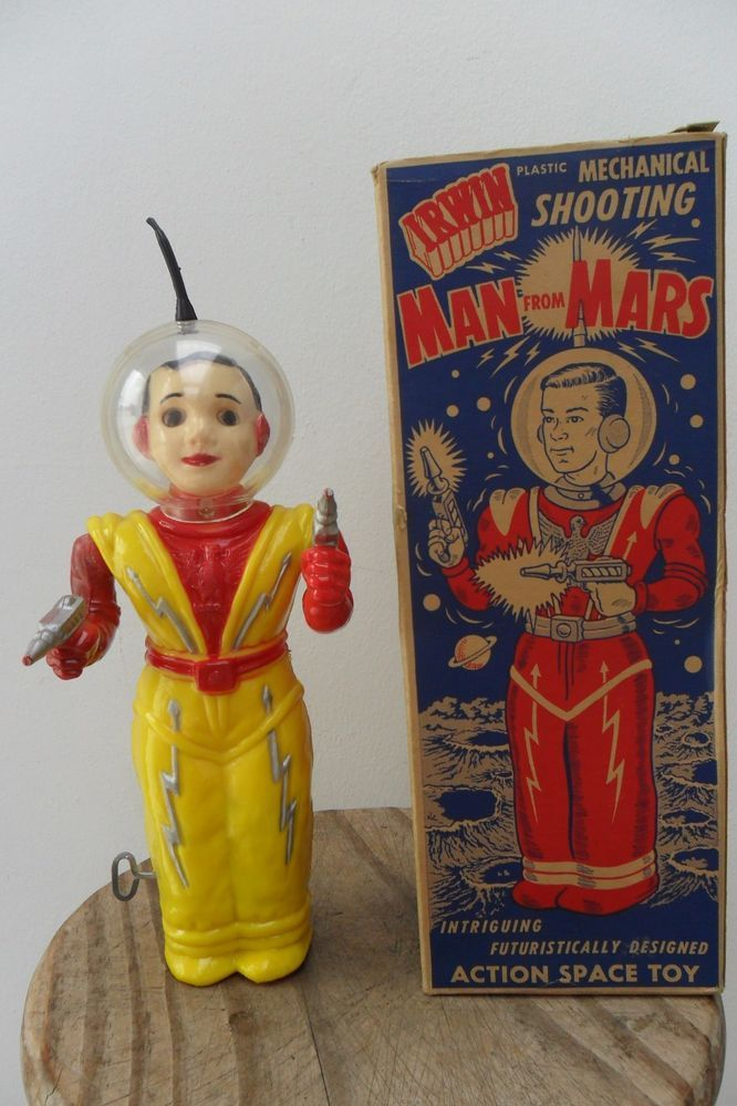 Rare Mechanical Space Man from Mars Robot by Irwin Made in Canada 1950's Box